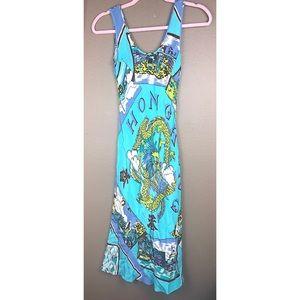 TIBI | Blue Green 100% Silk Asian Hong Kong Dress